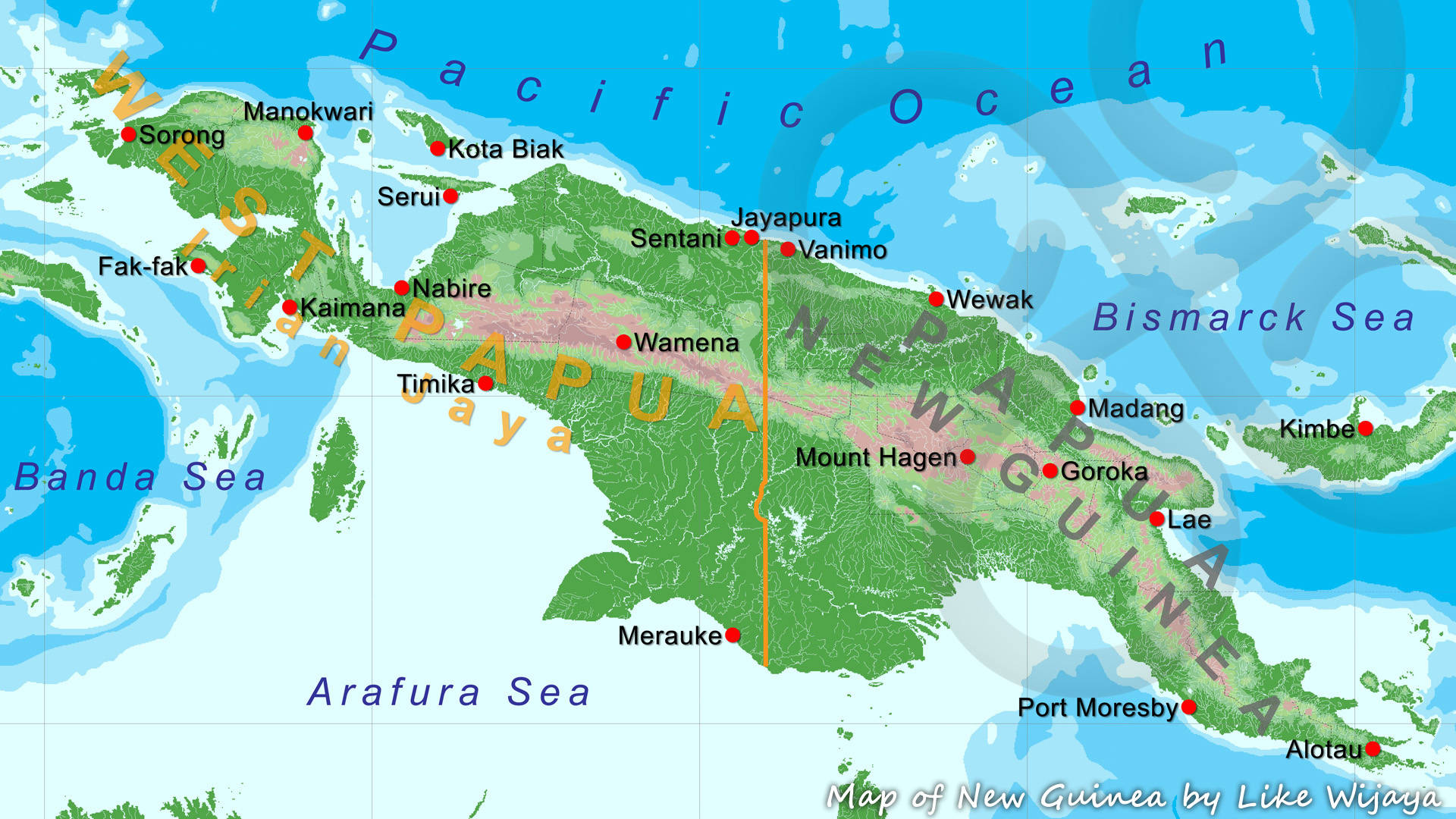 Map of New Guinea showing the nearly perpendicular border at 141° East, deviating only at the so-called 'Fly River Bulge', with West Papua or Indonesian New Guinea to the west and Papua New Guinea to the east. Copyright © Like Wijaya